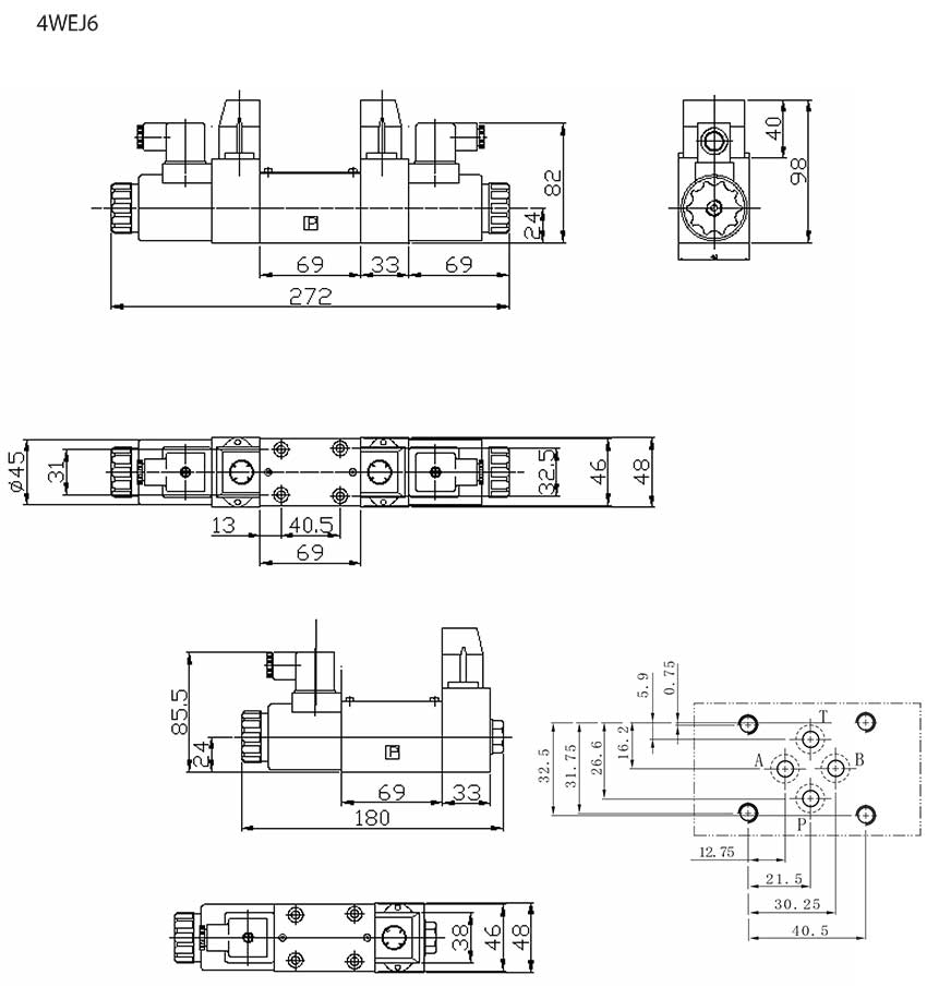 4WEJ-series-solenoid-directional-control-valves-Dimensions