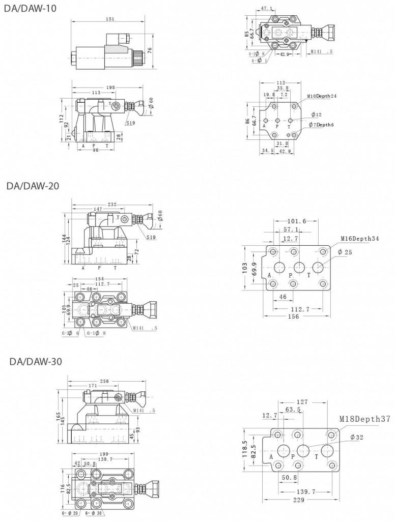 DA-series-pilot-operated-unloading-valves-Dimensions-tork-hydraulics-ترک-هیدرولیک