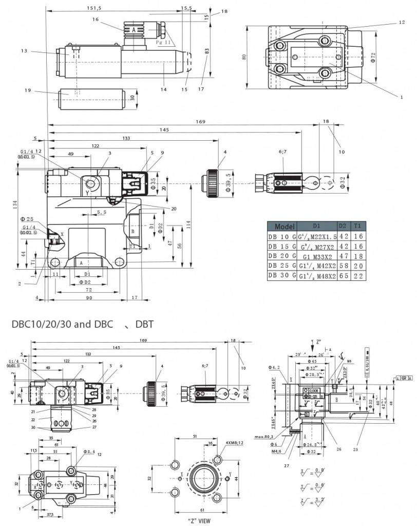 Db series pilot operated relief valves dbw series solenoid operated db series pilot operated relief valves dimensions2 tork biocorpaavc Gallery