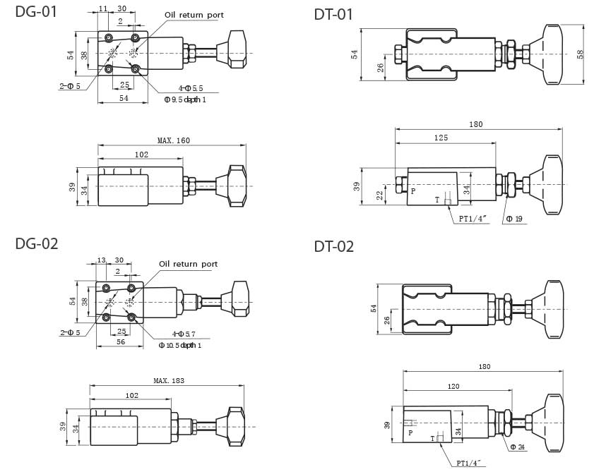 DG-series-remote-control-relief-valves-Dimensions-tork-hydraulics-ترک-هیدرولیک