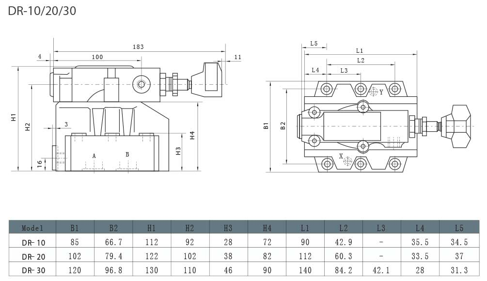 DR-series-pilot-operated-pressure-reducing-valves-Dimensions-tork-hydraulics-ترک-هیدرولیک-