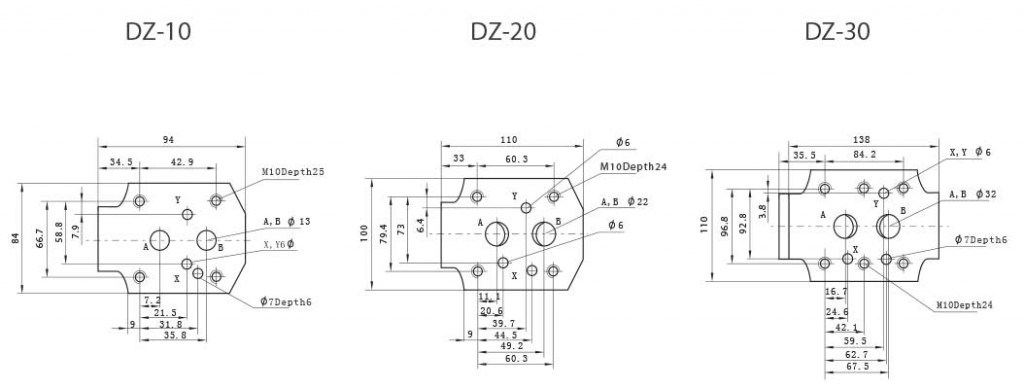 DZ-series-pilot-operated-pressure-sequence-valves-Mounting-size-tork-hydraulics-ترک-هیدرولیک
