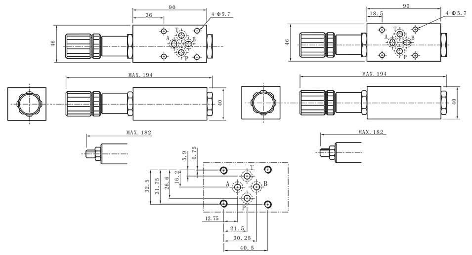 MCS-series-modular-balance-valves-Dimensions