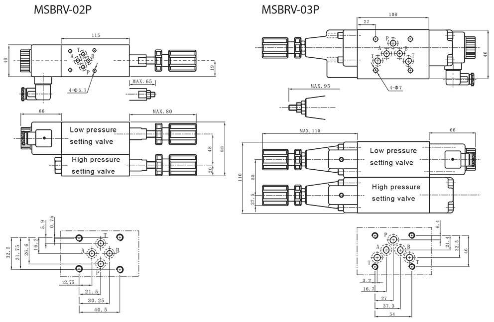 MSBRV-series-modular-solenoid-reducing-valves-Dimensions