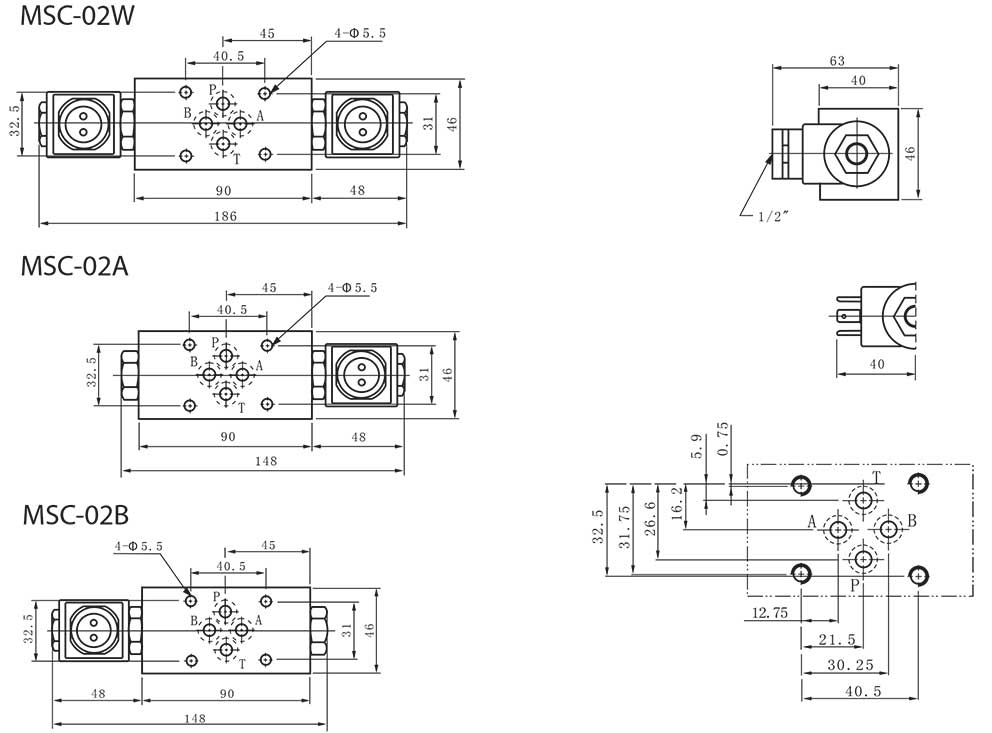 MSC-series-modular-solenoid-check-valves-Dimensions