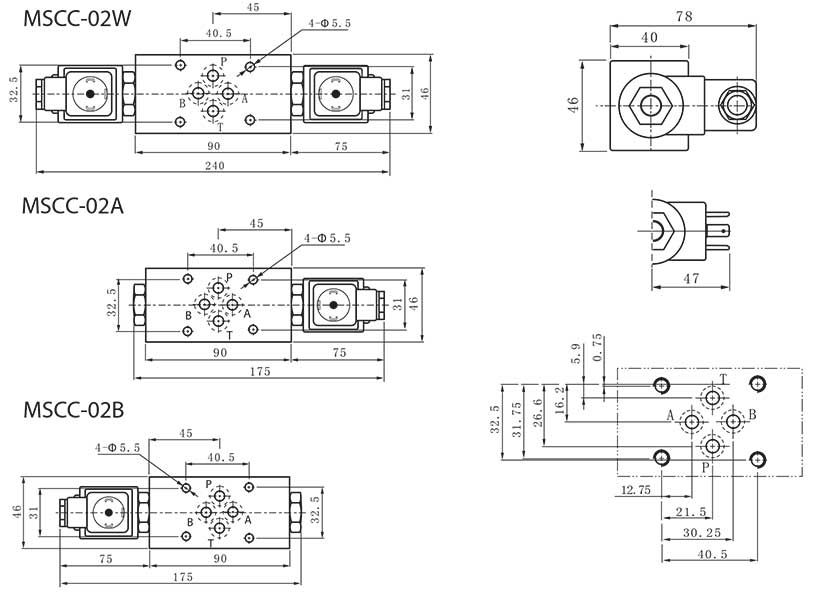 MSCC-series-modular-solenoid-two-way-check-valves-Dimensions
