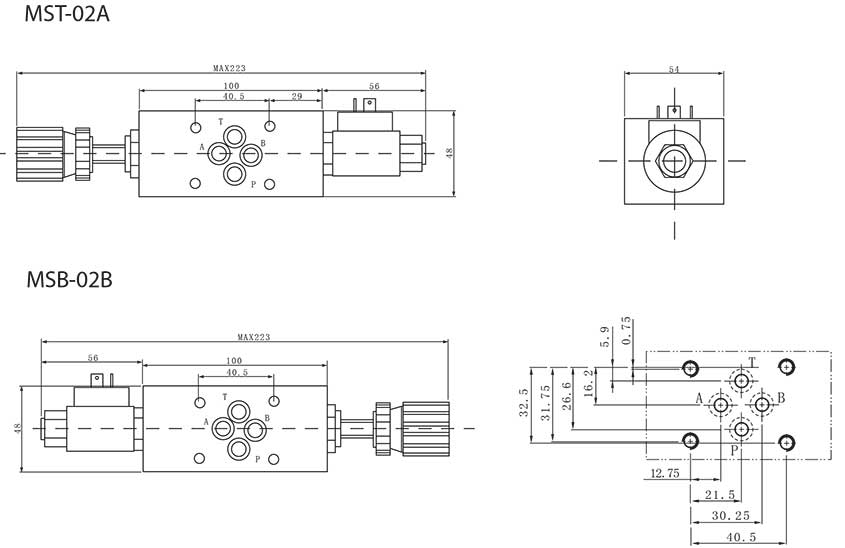 MST-series-modular-solenoid-throttle-valves-Dimensions