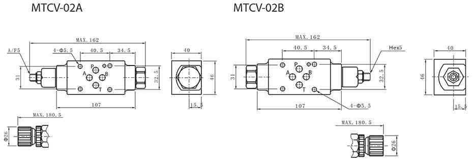MTCV-series-modular-throttle-check-valves-Dimensions
