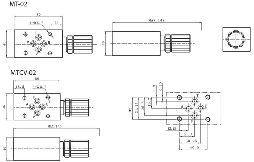 MT(CV)-series-modular-throttle-(check)-valves-Dimensions