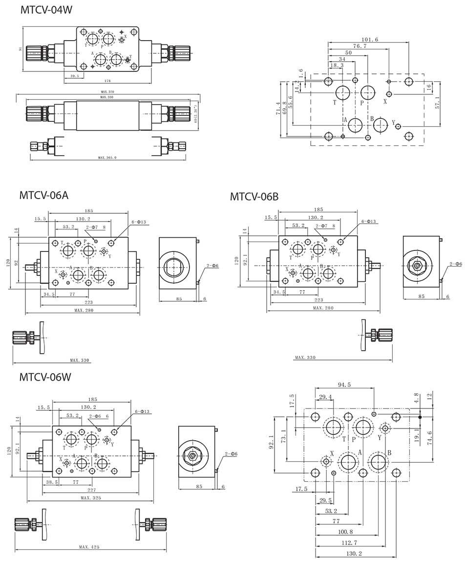Mtcv series modular throttle check valves tork hydraulics mtcv series modular throttle check valves dimensions3 biocorpaavc